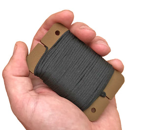 Sagewood's Mini-Spool Card is roughly credit card sized, so it fits easily your pocket or the palm of your hand.