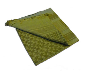 The foliage-colored shemagh is a light green color with darker green pattern.