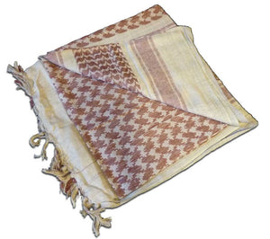 Tan and brown shemaghs, or head scarves, are made from loose knit cotton weave by Red Rock Outdoor Gear.