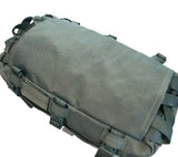 The back panel on the SKRAM Go Bag holds backpack shoulder straps and retention straps when the bag is stowed.