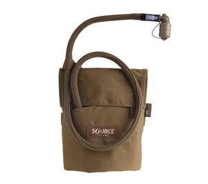 Kangaroo Collapsible Canteen from Source Tactical with coyote tan MOLLE pouch.