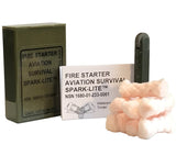 Olive Drab Spark-Lite Fire Starting Kit with treated compressed cotton TinderQuik tabs and weather resistant plastic container.
