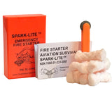 The High Visibility Orange Spark-Lite Fire Starter Kit includes the spark tool and TinderQuik Tabs.
