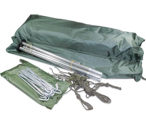 The French Army F1 Tent includes 2-man tent, aluminum poles, steel stakes, and nylong tie outs.