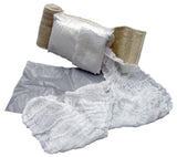 Each Olaes Modular Bandage includes the primary dressing and bandage, as well as additional gauze for through-and-through wounds, and a plastic sheet for occlusive dressings.