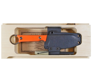 Choose between orange or black G10 handle scales for your Firecraft Knife from White River Knife.