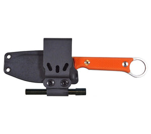 White River Knife & Tool's FC 3.5 Pro knife has a kydex sheath with configurable belt clip plate.