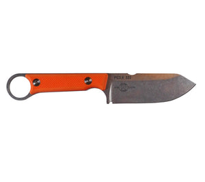 The FC 3.5 Pro with orange G10 handles has a 3.5 inch fixed blade with plain edge.