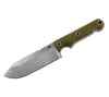 WRK's FC5 features a drop point, plain edge blade and canvas micarta handles with orange liners.