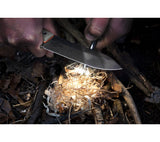 WRK's Firecraft knives are designed for starting campfires with sharpened spine and bowdrill socket.