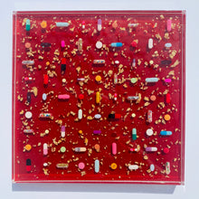 "Load image into Gallery viewer, Ruby Red Pill Grid : 12x12"" Resin Wall Art in Acrylic Frame"