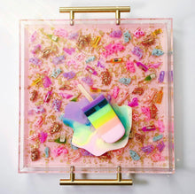 "Load image into Gallery viewer, Limited Edition Resin Art - Lucite Tray with Popsicle Sculpture (Pink Diva Shoe Tray with a ""Pastel Rainbow Splat"" Pop)"