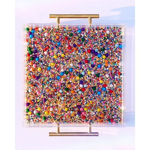 Lucite Tray with Sprinkle Resin Art, Gold Handles, 12x12