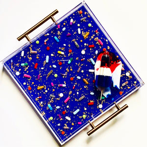 "Limited Edition Resin Art - Lucite Pill Tray with Popsicle Sculpture (Royal Blue Shimmer with ""You're The Bomb"" Pop)"
