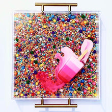 "Load image into Gallery viewer, Limited Edition Resin Art - Lucite Tray with Popsicle Sculpture (Sprinkle Tray with an ""Ombré Pink Splat"" Pop)"
