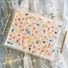 "Load image into Gallery viewer, 11""x14"" clear lucite tray with shimmering pearl white w/ diamond dust base, gold handles, gold leaf and pill petri details"