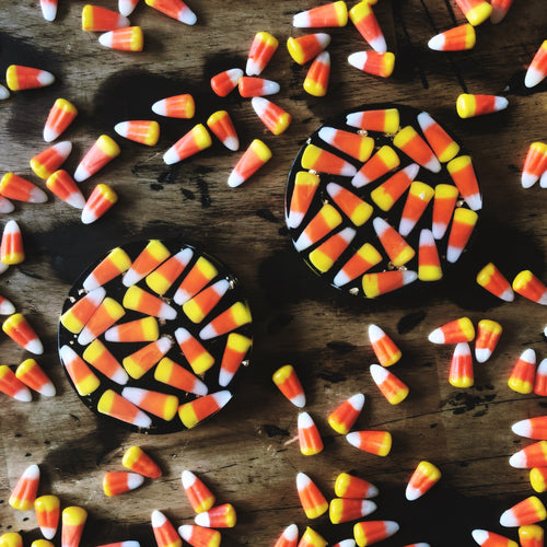 Candy Corn Coasters with gold leaf and shimmering black base - set of TWO