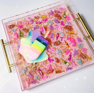 "Limited Edition Resin Art - Lucite Tray with Popsicle Sculpture (Pink Diva Shoe Tray with a ""Pastel Rainbow Splat"" Pop)"