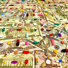 "Load image into Gallery viewer, ""Pills and Bills"" Pill Grid: 16x16"" Resin Wall Art in Acrylic Frame"