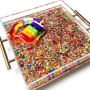 "Limited Edition Resin Art - Lucite Tray with Popsicle Sculpture (Sprinkle Tray with a ""Rainbow Splat"" Pop)"