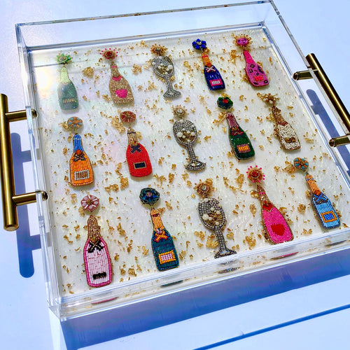 "12x12"" Beaded Champagne Bottles on Opal Serving Tray"