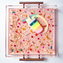 Load image into Gallery viewer, Limited Edition Collector's Item - Resin Art - Lucite Pill Tray with Popsicle Sculpture (Pale Pink Pill Tray with Pastel Rainbow Splat Pop)
