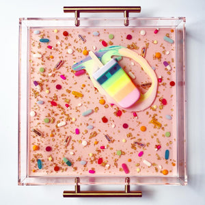 Limited Edition Collector's Item - Resin Art - Lucite Pill Tray with Popsicle Sculpture (Pale Pink Pill Tray with Pastel Rainbow Splat Pop)