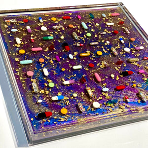 "Psychedelic Pearl Pill Grid : 12x12"" Resin Wall Art in Acrylic Frame"