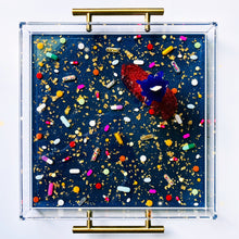 "Load image into Gallery viewer, Limited Edition Resin Art - Lucite Pill Tray with Popsicle Sculpture (Navy Shimmer with ""You're The Bomb"" Pop)"