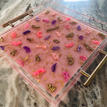 Load image into Gallery viewer, Diva Doll Stiletto Serving Tray - pale pink glitter base, 12x12""