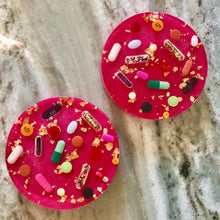 Load image into Gallery viewer, Gold Leaf Pill Petri on Shimmering Pink Base (Set of TWO)