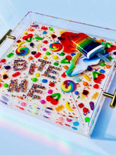"Load image into Gallery viewer, Limited Edition Resin Art - Lucite Tray with Popsicle Sculpture (""Bite Me"" Candy Tray with ""Rainbow Splat"" Pop)"