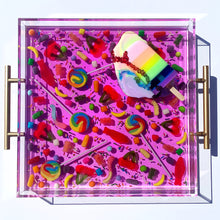 "Load image into Gallery viewer, Limited Edition Resin Art - Lucite Tray with Popsicle Sculpture (Candy Tray with ""Pastel Rainbow Splat"" Pop)"