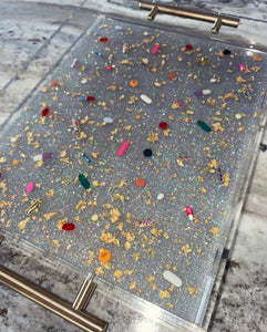 "11""x14"" clear lucite tray with holographic silver glitter base, gold handles, gold leaf and pill petri details"