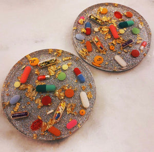 Gold Leaf Pill Petri on Sparkling Holographic Silver Base (Set of TWO)