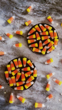 Load image into Gallery viewer, Candy Corn Coasters with gold leaf and shimmering black base - set of TWO