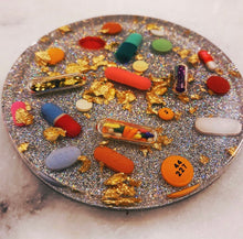 Load image into Gallery viewer, Gold Leaf Pill Petri on Sparkling Holographic Silver Base (Set of TWO)