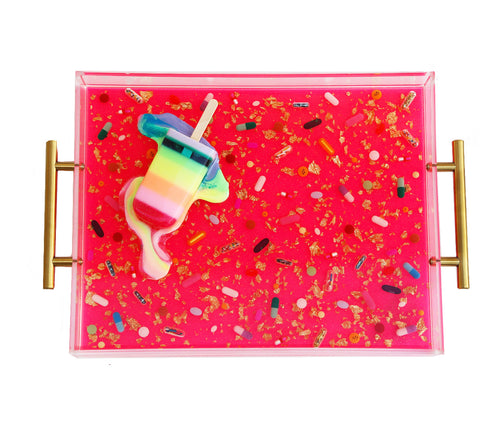 Limited Edition Collector's Item - Resin Art - Lucite Pill Tray with Popsicle Sculpture (Neon Pink Serving Tray with Pastel Rainbow POP)