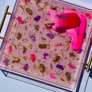 "Limited Edition Resin Art - Lucite Tray with Popsicle Sculpture (Pink Doll Shoe Tray with a ""Pink Ombre Splat"" Pop)"