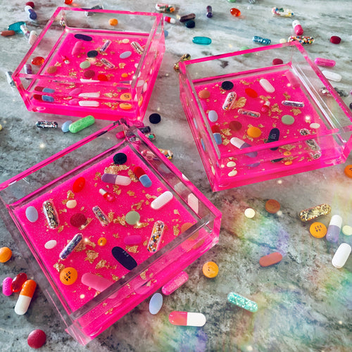 The Hot Pink Catchall - Diamond Dust Glitter Base + Gold Leaf