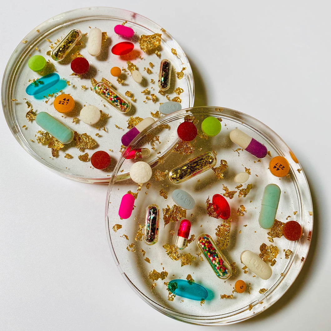 Classic Pill Petri with Faux Gold Leaf, diamond dust sparkle