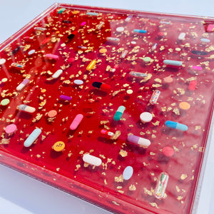 "Ruby Red Pill Grid : 12x12"" Resin Wall Art in Acrylic Frame"