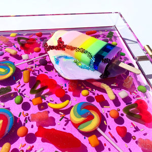 "Limited Edition Resin Art - Lucite Tray with Popsicle Sculpture (Candy Tray with ""Pastel Rainbow Splat"" Pop)"