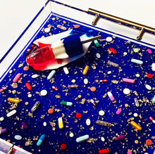 "Load image into Gallery viewer, Limited Edition Resin Art - Lucite Pill Tray with Popsicle Sculpture (Royal Blue Shimmer with ""You're The Bomb"" Pop)"