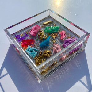 Diva Doll Stiletto Catchall - holographic silver glitter base, 4x4""