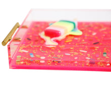 Load image into Gallery viewer, Limited Edition Collector's Item - Resin Art - Lucite Pill Tray with Popsicle Sculpture (Neon Pink Serving Tray with Pastel Rainbow POP)