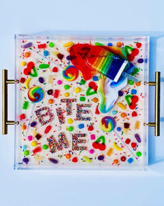 "Limited Edition Resin Art - Lucite Tray with Popsicle Sculpture (""Bite Me"" Candy Tray with ""Rainbow Splat"" Pop)"