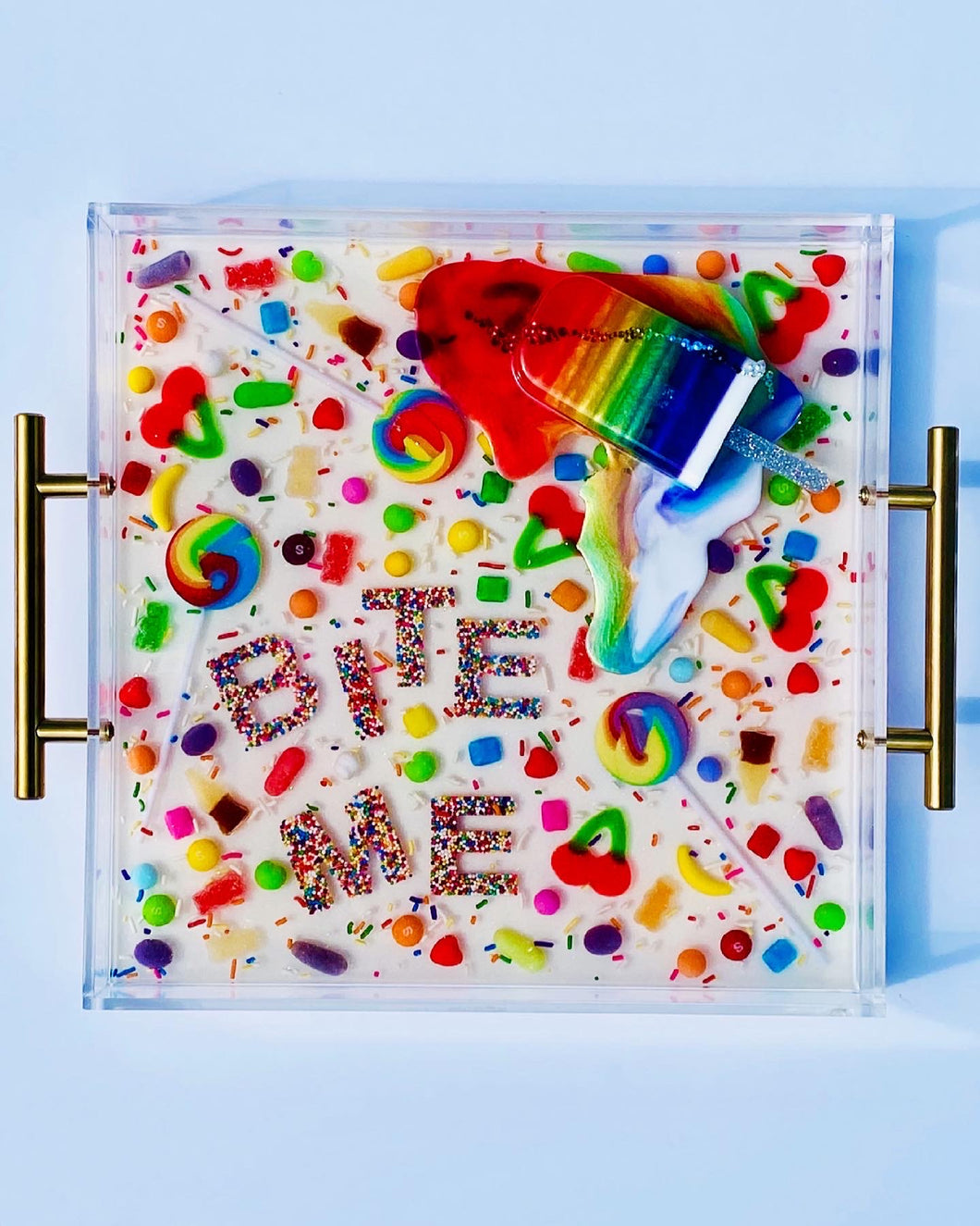 Limited Edition Resin Art - Lucite Tray with Popsicle Sculpture (
