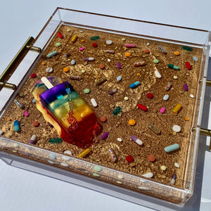 "Limited Edition Resin Art - Lucite Pill Tray with Popsicle Sculpture (Marbled Gold with ""Rainbow Splat"" Pop)"