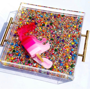 "Limited Edition Resin Art - Lucite Tray with Popsicle Sculpture (Sprinkle Tray with an ""Ombré Pink Splat"" Pop)"